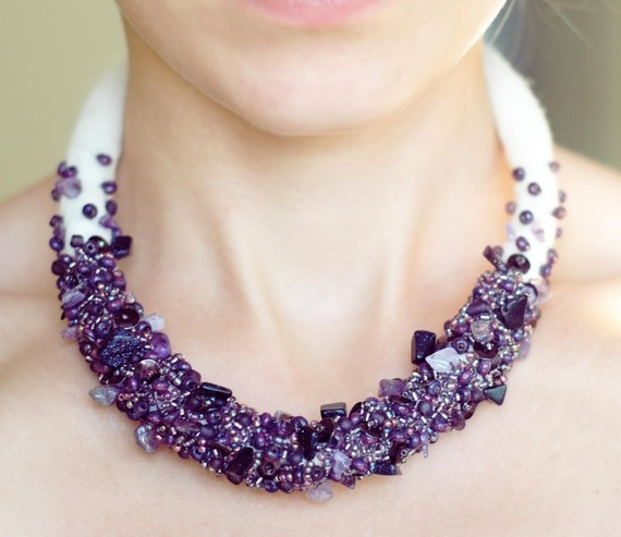 embroidered plum necklace/love this...maybe  a little long due to the diameter of the rope ....