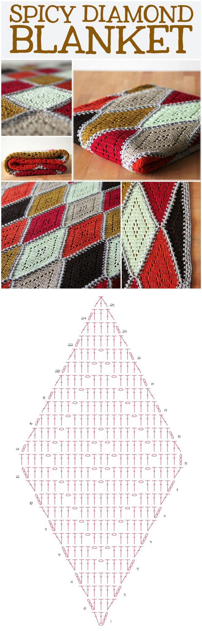 Free crochet pattern: spicy diamond blanket - haak maar Raak...♥ Deniz ♥