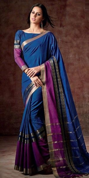 Elegantly Navy Blue And Purple Silk Printed Saree.