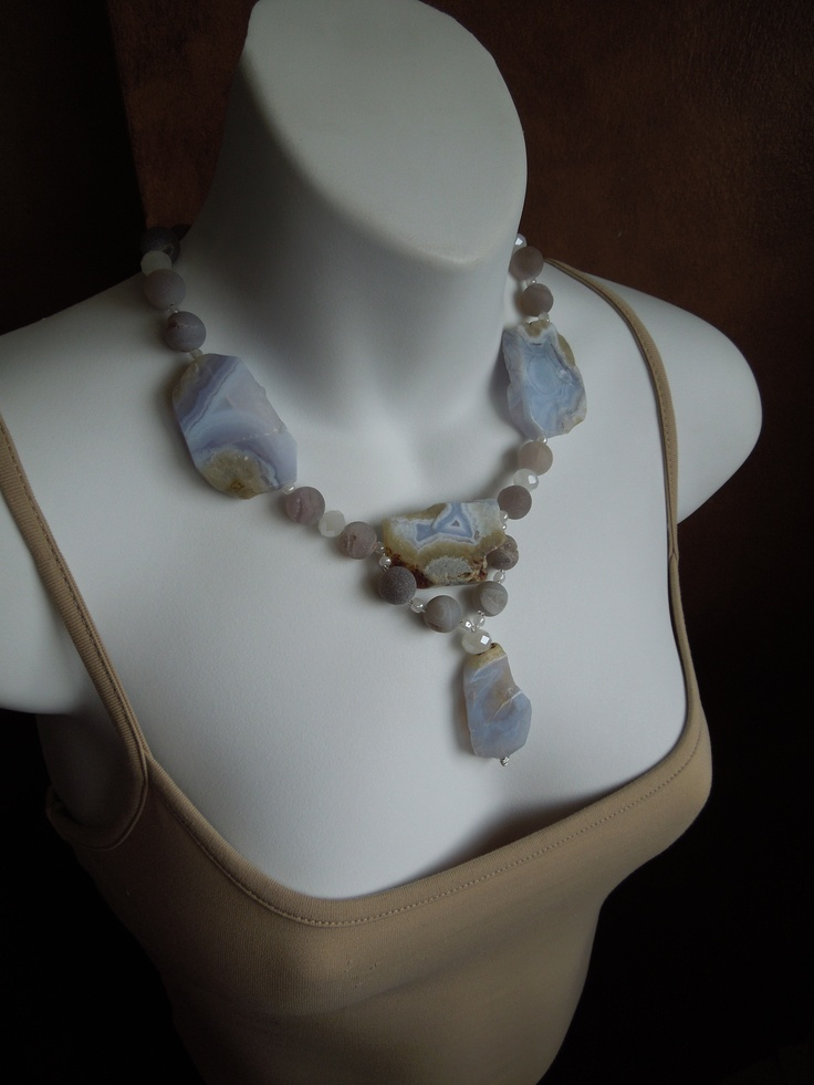 Blue Lace Agate, agate geodes and sterling silver.  I love the icy blue colour of this agate.So gorgeous!  Check out more pieces made of this beautiful stone on my Facebook page  Jewelry by Stella Margaritis