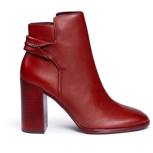 Mercedes Castillo 'Carey' leather ankle boots (8.985 CZK) ❤ liked on Polyvore featuring shoes, boots, ankle booties, ankle boots, red, booties, leather ankle booties, short boots, red ankle booties and leather bootie