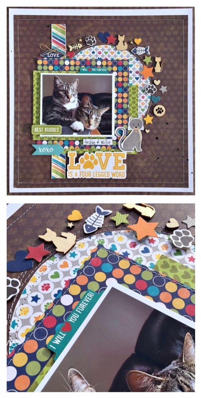 Best Buddies (cats) scrapbook layout created by Kristine Davidson featuring Jillibean Soup Fur Fusion #scrapbooklayouts #scrapbooking101