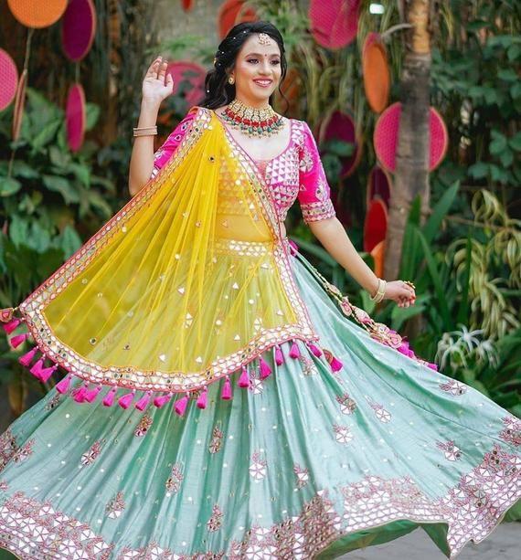 lehenga mehendi haldi party wear embroidery Designer Custom made wedding Dress