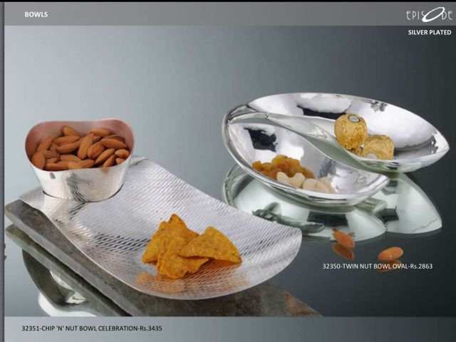 Silver-Plated Twin Nut Bowl Oval. Call- 9830554561.