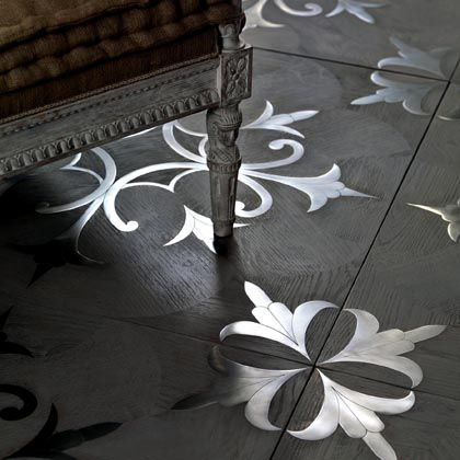 """This """"touch"""" is perhaps the distinctive mark of i Vassalletti, and of the Tuscan master artisans.  Inlaid flooring in wood and steel, with natural """"pearl gray"""" finishing in oil and wax, on our model """"Tuscania"""" design."""