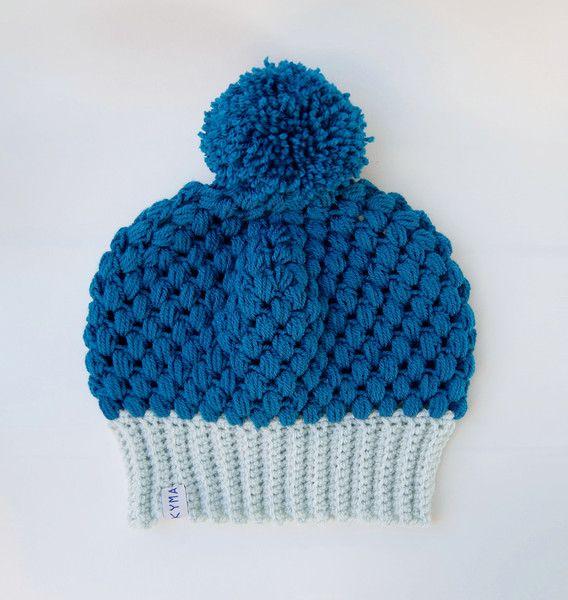 Mützen - Beanie Longbeanie Mütze Häkelmütze Pom Pom Vegan - ein Designerstück von kymastyl bei DaWanda