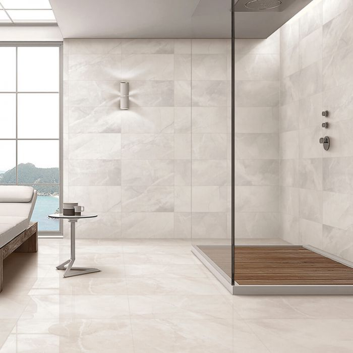 Pietra Ivory Polished Porcelain Wall And Floor Tiles Bathroom