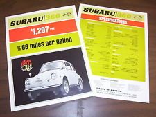 "SUBARU 360 ""HAPPY TALK"" SALES BROCHURE, 8 1/2 x 11 SPEC SHEET"
