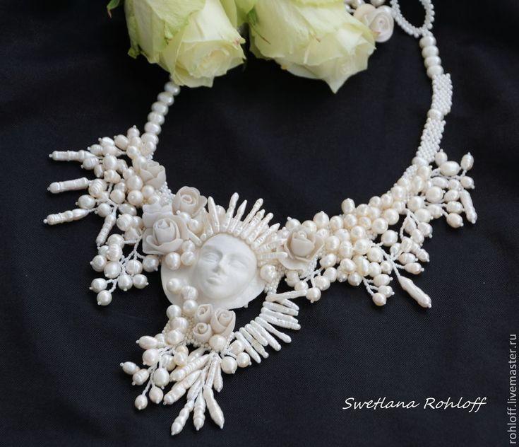 Купить Колье ,, Белая королева ,, - колье, уникальный подарок, украшение из бисера, дизайнерские украшения