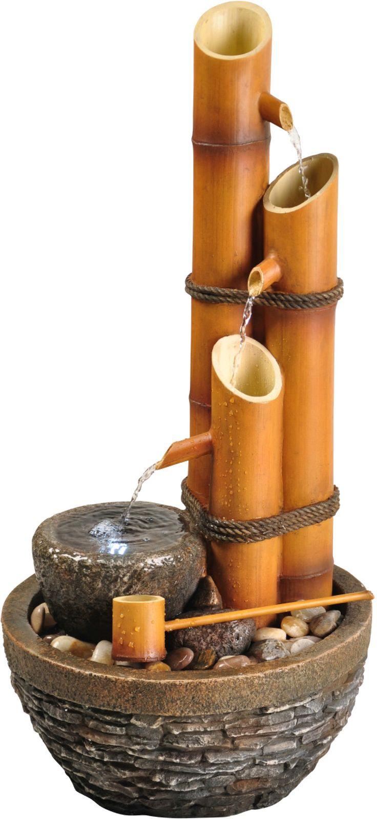 Fonte de bambu para ambientes internos. Encantador! :D #mundozen #zen #fonte #bambu #agua