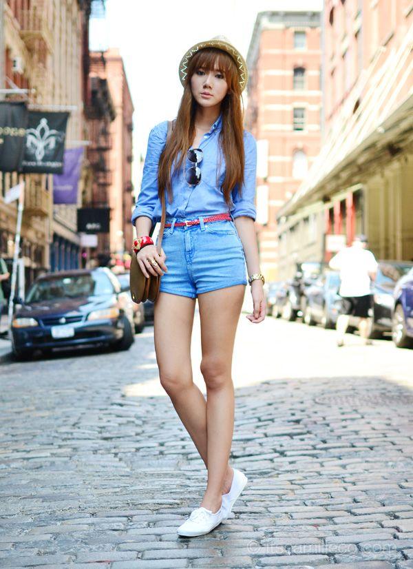 Blue blouse + blue shorts + white Keds sneaker + cross body + sunnies + fedora.