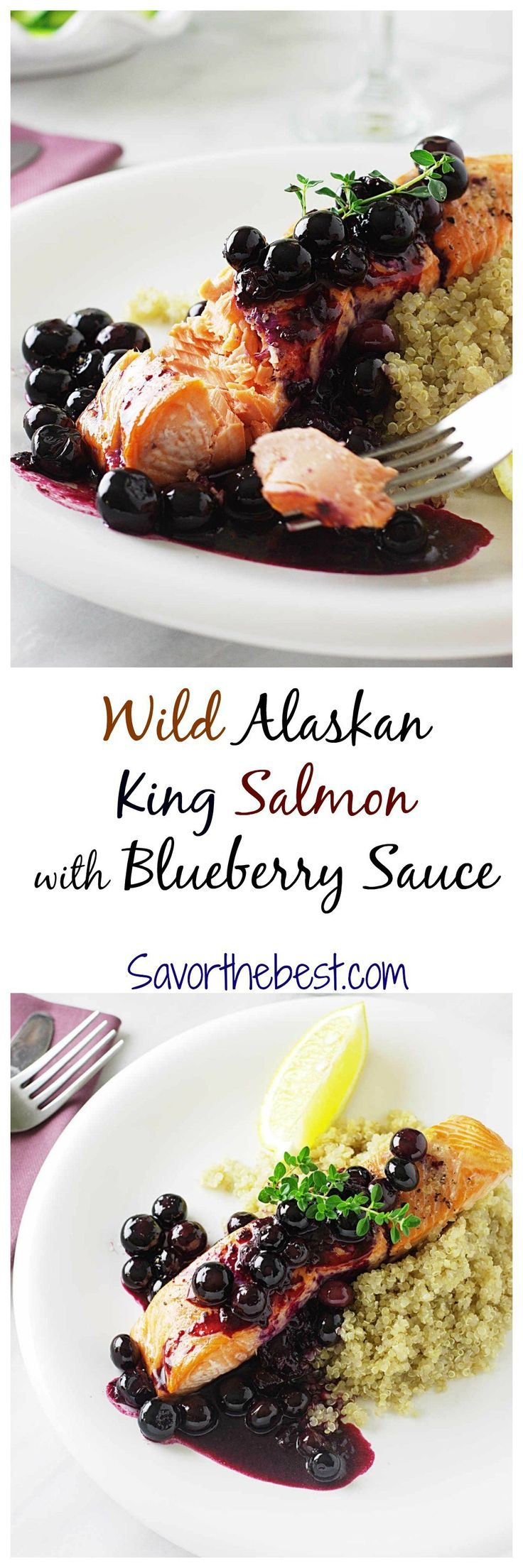 Wild Alaskan King Salmon with Blueberry Sauce
