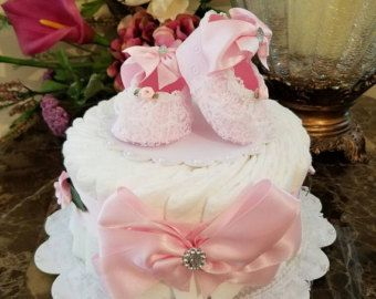 One Tier Pink Tulle Diaper Cake / Baby Shower by TheCarriageShoppe