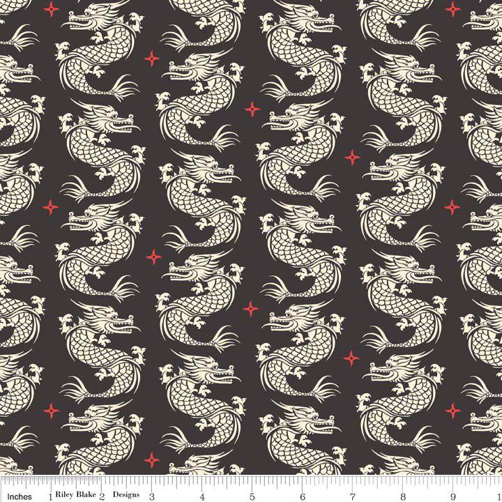 Sew Scrumptious Fabrics - Riley Blake - Year of the Ninja - Dragons (Black), £3.00 (http://www.sewscrumptious.co.uk/riley-blake-year-of-the-ninja-dragons-black/)