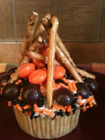 Camping Birthday Party...maybe just a big swirl of orange icing with the pretzel sticks:)