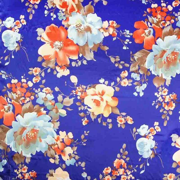 Large Floral Poly Spandex Blue 150cm