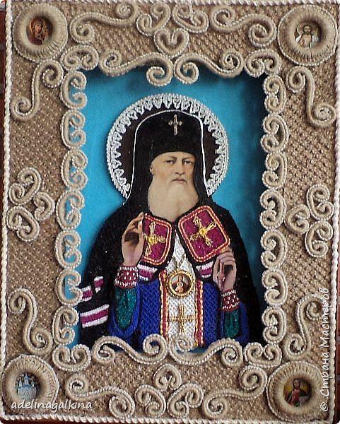 Картина панно рисунок Макраме макраме икона  Св Лука Нитки Ткань фото 1