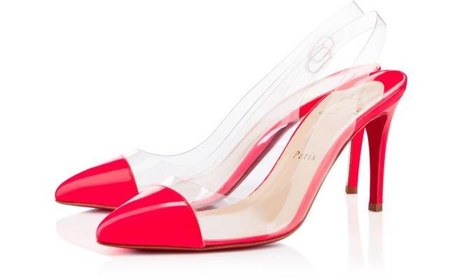 UN BOUT SLING 85 mm, PVC, rose vif, escarpins pour femme #Christian Louboutin #shoes