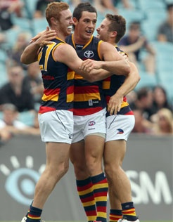 Tomy Lynch, Walker and Wright celebrate a goal in the NAB Cup