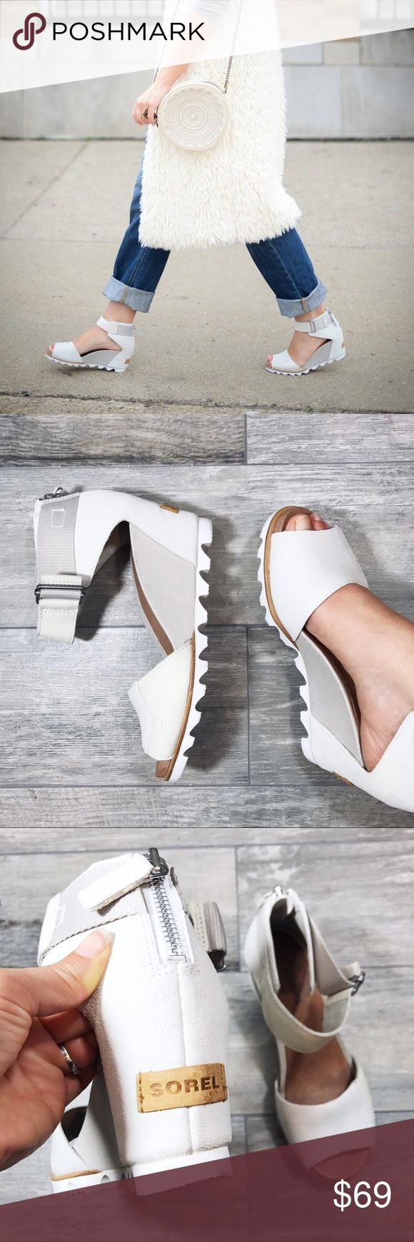 Sorel 'Jonie' Wedge Sandal in Stone Color Such a cool wedge with mixed textures- leather & canvas, Velcro strap & rubber wedge. They are in excellent condition & are SOLD OUT. The heel has some minor wear from storage (price reflects this), however they've never been worn. Sorel Shoes Wedges