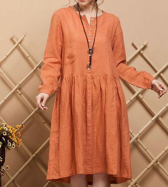 Orange Linen Maxi Dress / long sleeve casual by dreamyil on Etsy, $86.00