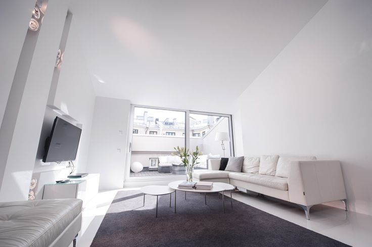 The penthouse with two bedrooms. The living area.