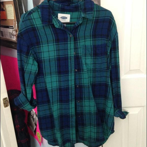 blue and green flannel Very cute blue and green flannel Old Navy Tops Button Down Shirts