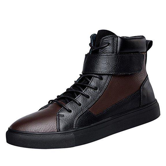 Pik & Clubs Herren Echt Leder Freizeit Fashion High Top Klettverschluss Flache Schnürschuhe Stiefel kurz, für vier Jahreszeiten, Black Brown, 40