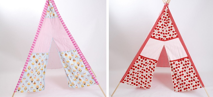 Fabric tepee tents featured on Lovely Little People both available from www.heartandhome.co.za