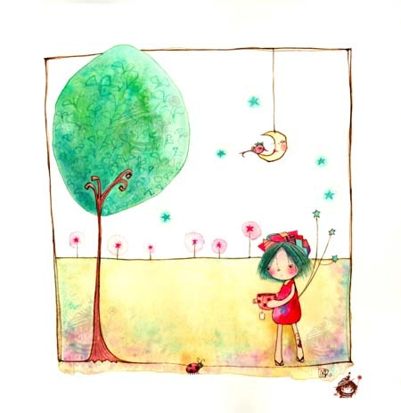 "• Majeak Ann Illustration  ""A tatto-tea Bug"" - watercolor"