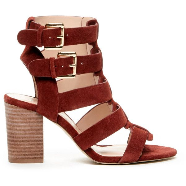 Sole Society Rhea Caged Heeled Sandal ($90) ❤ liked on Polyvore featuring shoes, sandals, red wine, red strappy sandals, buckle sandals, caged heel sandals, strap sandals and suede sandals