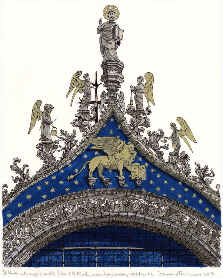 St Mark's with Angels and the Lion, Venice. #Venice #St Mark's #Architecture #Art #Drawing #Prints