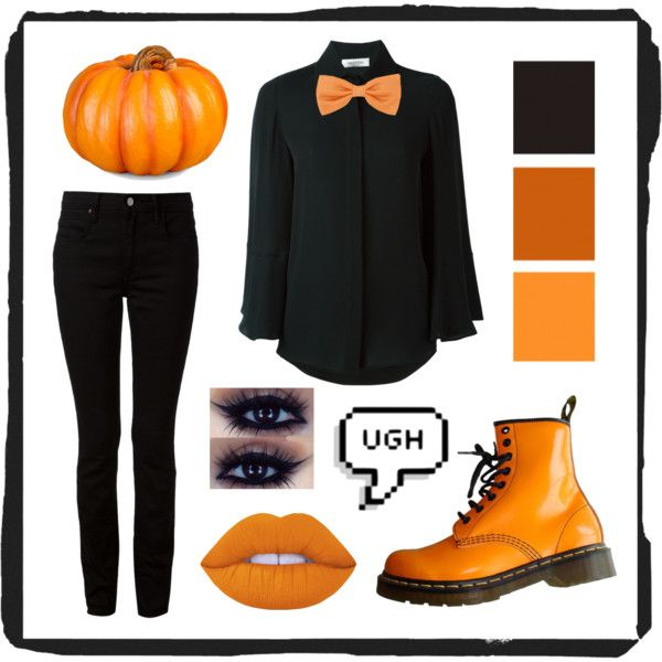 Pumpkin by pastellilapsi on Polyvore featuring Valentino, T By Alexander Wang, Dr. Martens, Forzieri, Lime Crime and Improvements