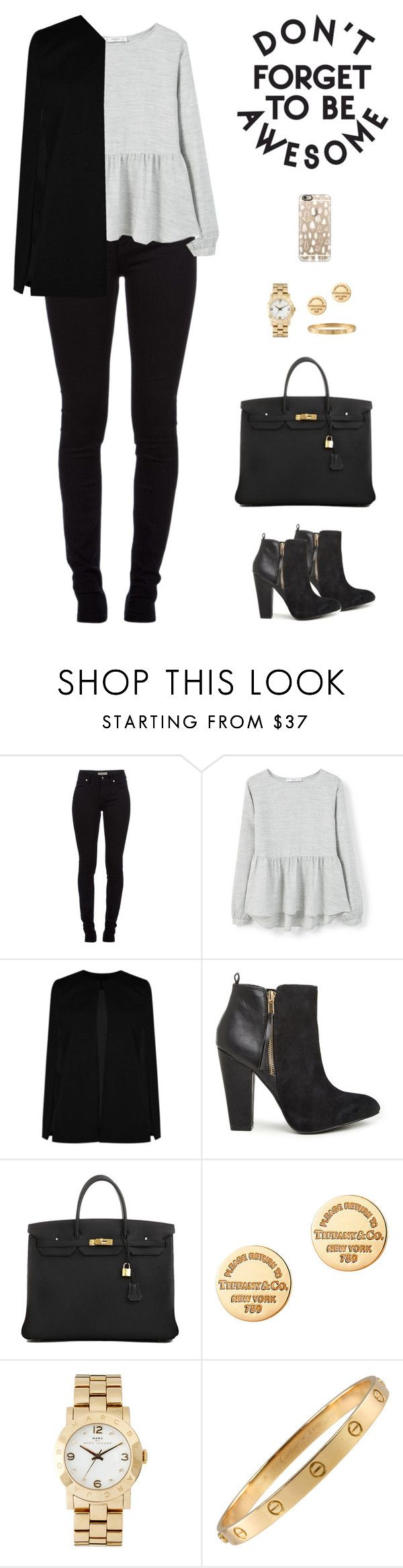 """""""There ain't no telling who you might meet"""" by sashiss ❤ liked on Polyvore featuring Burberry, MANGO, Boohoo, Steve Madden, Hermès, Tiffany & Co., Marc by Marc Jacobs, Cartier and Casetify"""