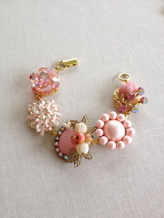 Soft blush bridesmaid bracelet, Vintage earring bracelet, peach, ballet, pink, pearl, rose, gold, rhinestone, vintage earrings,  cluster