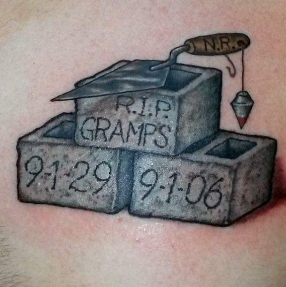 Stonemason Male Grandpa Rip Tattoo On Chest