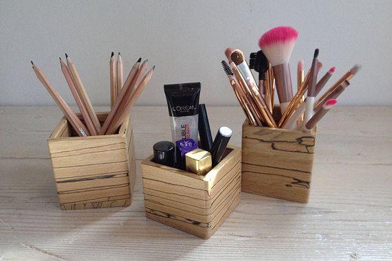 Wooden storage box, desk tidy, pen holder, makeup holder, brush holder, spalted beech, oddments, natural, gift, wood, cube, square