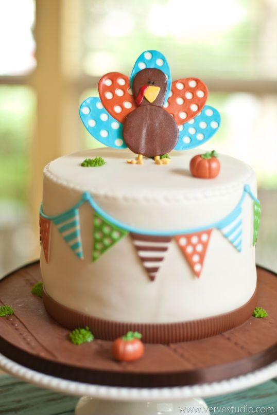 The happiest little Thanksgiving cake ever- based on design by Lauren McKinsey Designs