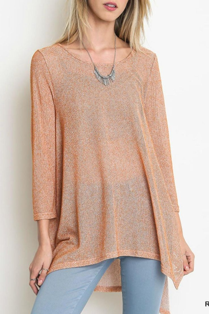This semi sheer rust 3/4 sleeve top in rust is a great look for the fall! Wear it to a fun weekend trip with friends or out to the next wine tasting downtown. Fit is loose intended & feel is lightweight. Pair it with a neutral cami underneath, skinny jeans & riding boots!   Semi Sheer Top by Umgee USA. Clothing - Tops - Long Sleeve Kansas