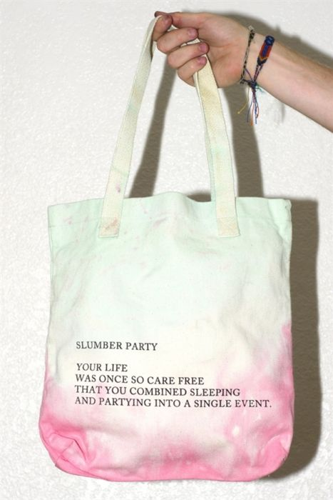 DALLAS CLAYTON, SLUMBER PARTY TOTE BAG: i'm saving for places rather than things, but i think you should consider this bag because it's really amazing and sweet. #dallas_clayton #carry $25