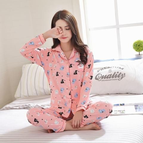 add93b1934 WAVMIT Spring   Autumn Winter Girl Long Sleeve Pajamas For Women Lovely  Cartoon Women Clothing Full Cotton Sleepwear Sets