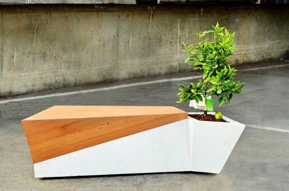 Outdoor Wood Glass Fiber Concrete Bench Planter