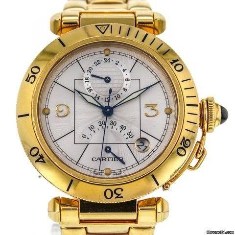 Cartier Pasha 38mm 2395 Power Resrve 18k Yellow Gold Automatic Men's Watch