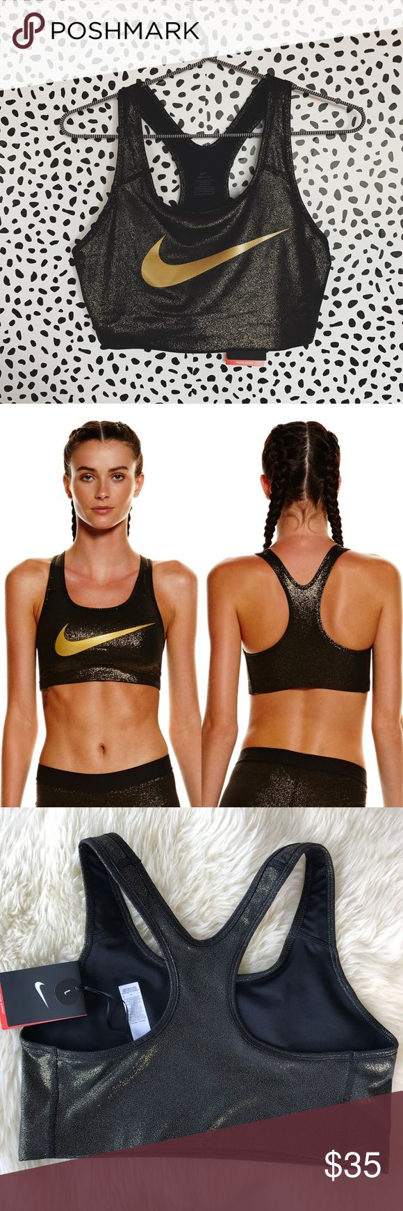 Nike Pro Gold Sports Bra •The Nike Pro Classic Swoosh Women's Medium Support Sports Bra features a compression fit and low racerback straps to provide medium support and enhanced mobility during your workout.  •Size Large, true to size.  •New with tag.   •NO TRADES/HOLDS/PAYPAL/MERC/VINTED/NONSENSE. Nike Intimates & Sleepwear Bras