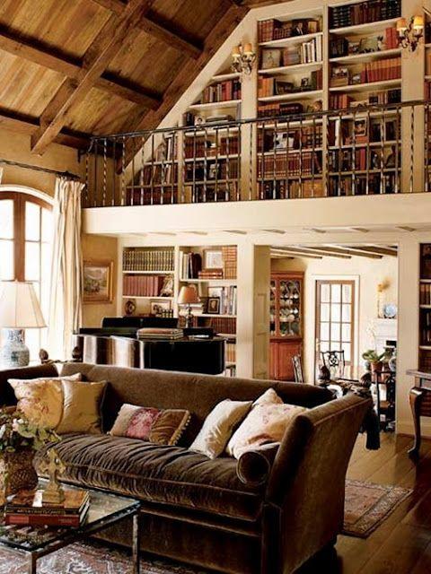 brown velvet sofaBookshelves, Home Libraries, The Loft, Dreams, Living Room, Book Shelves, Wood Ceilings, House, Rustic Wood
