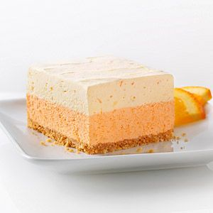 Orange Dream Layered Squares - Two layers of orange creaminess on top of a graham cracker crust make a bright and refreshing dessert