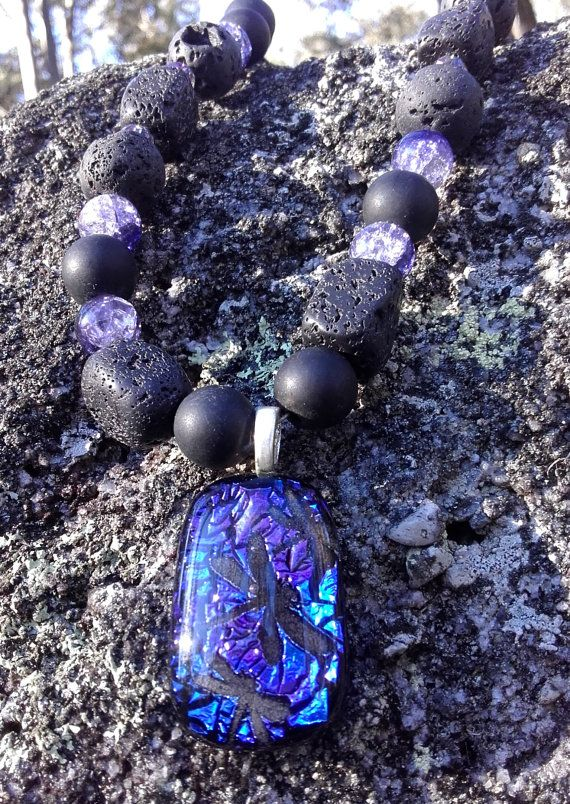 Dichroic dragonfly necklace lava rock by JeweleryArtDPDesigns