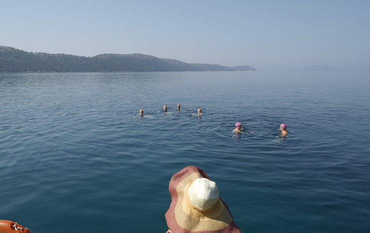 Swimmers stop for a chat after a hard swim : )