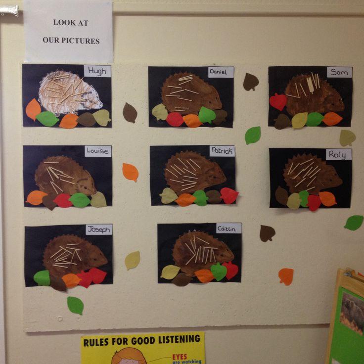 Hedgehog Classroom Decor ~ Our hedgehogs for hibernation theme autumn halloween