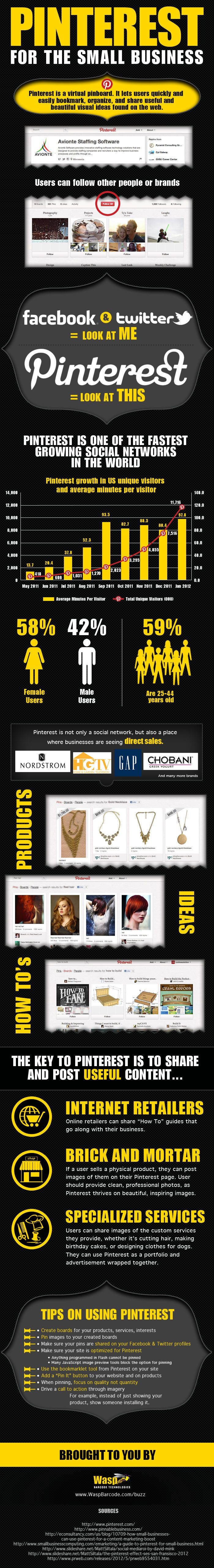 Pinterest = look at THIS instead of FB & Twitter's = look at ME. Pinterest 101 for Business  This is a great #infographic about why Pinterest is such a good choice for businesses.